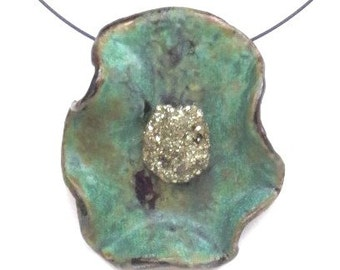 Ceramic pyrite statement pendant free form green clay choker rustic contemporary pottery necklace modern art jewelry