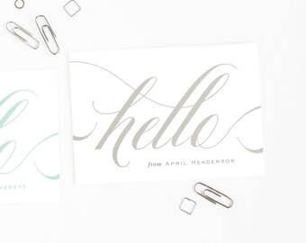 Personalized Stationery Set, Elegant Note Cards, Women's Folded Stationery // ELEGANT HELLO