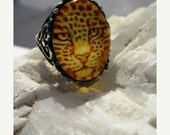 25%Off Genuine Carved Amber Jaguar Cat Ring Sterling Silver Scroll Intaglio Cameo handmade fine jewelry custom half sizes 4 5 6 7 7.5 8 8.5