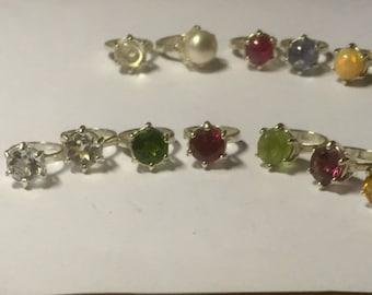 Tiny Engagement Ring Charm Sterling Silver custom Genuine Gemstone Birthstone CZ red garnet purple amethyst blue white topaz green diopside