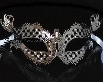 Masquerade Mask, Masquerade Ball Mask, Vampire Diaries Mask, Womans Mask, Silver Mask, Venetian Mask, Metal Mask, Woman Mask, Filigree Mask