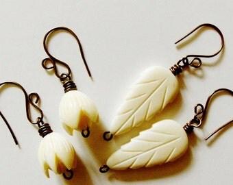Vintage Carved Pikake Flower or Feather Earrings
