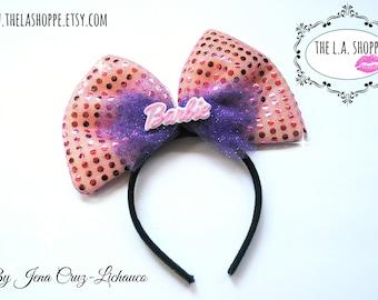 Pink/Purple 80's Barbie Tulle Sequin Bow Headband