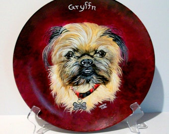 Pet Portraits Brussels Griffon Custom Hand Painted on 10.5  inch Coupe Style Plates Gift, Personalized Dog Cat Horse Dog Breed Pet Lover