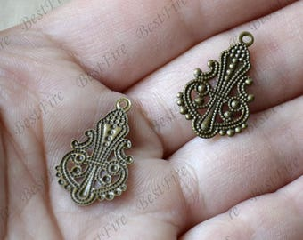 12pcs Antique Brass Drop Filigree Jewelry Connectors Setting,Connector Findings,Filigree Findings,Flower Filigree