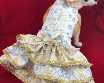 It's the Most Wonderful time of the Year, Christmas doe dress, elegant dog dress, Holiday dog dress, Gold dog dress, Fancy elegant dog dress