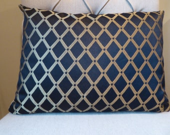 Black and gold reversible 12x16 pillow cover