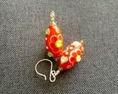 Lampwork Earrings, Flower Glass Bead Earrings, Red Green Dangle Earrings, Beadwork Earrings, Colorful Floral Earrings, Lampwork Jewelry
