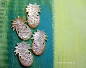 Pineapple Crush Yellow Tinge Double Drilled Small Cabochon in Carved Mother of Pearl Shell 25mm, 1.5mm Holes, 1pc