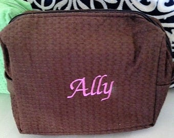 Large BROWN Waffle Weave Cosmetic Bag PERSONALIZED