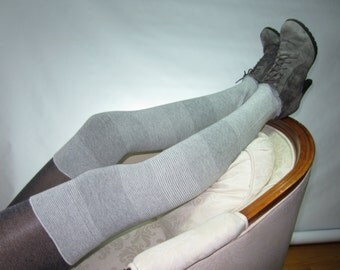 Cashmere Blend Thigh High Boot Socks Gray Leg Warmers Grey Over the Knee Socks A1844