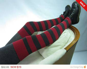 Sale -  Red Striped Thigh high socks Over the knee Leg warmers Grey Boot Sock Gray Stripe A1545