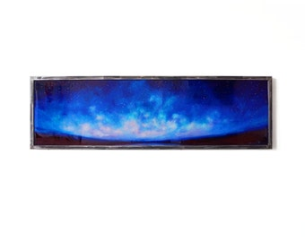 """Deep Blue Night with brushed steel frame and ready to hang 15"""" x 50"""""""