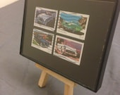 """Classic Cars - Recycled Postage Stamp Framed Art 3.5""""x5"""", dad gift, framed car art, Chevy Corvette, vintage cars, old cars, grandfather gift"""