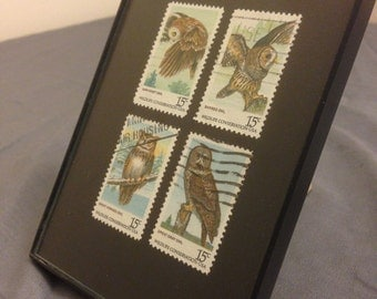"""Owl - Recycled Postage Stamp Framed Art 3.5""""x5"""""""