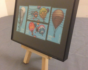 """Hot Air Balloon - Recycled Postage Stamp Framed Art 4""""x6"""", Balloon ride, travel"""