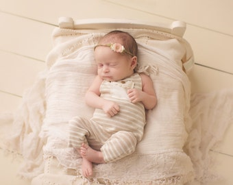 Newborn Photography Overall Set- Neutral Stripes