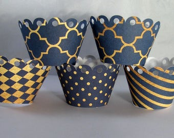 Scalloped Cupcake Wrappers, Navy and Gold Cupcake Wrappers
