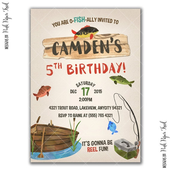 Gone fishing party invitation fishing birthday party for Where to buy fishing license near me