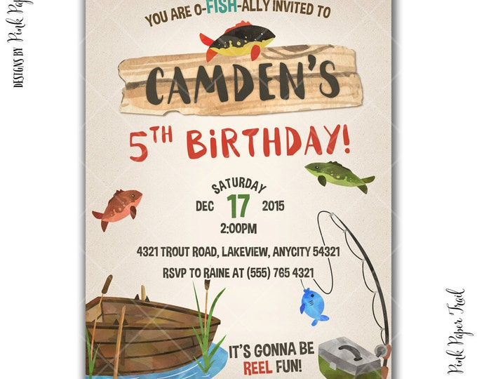 Gone Fishing Party Invitation, Fishing Birthday Party, Outdoor Party, Printable Invitation, I will customize, Print Your Own