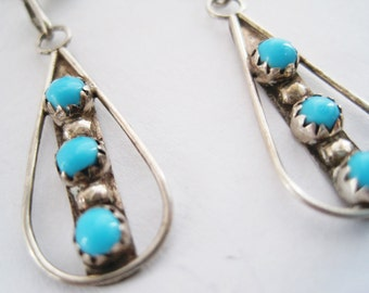 Vintage Silver and Turquoise Native American Dangle Earrings For Pierced Ears