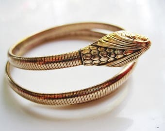 Forstner Snake Bracelet, Double Coil Gold Filled Serpent Bangle