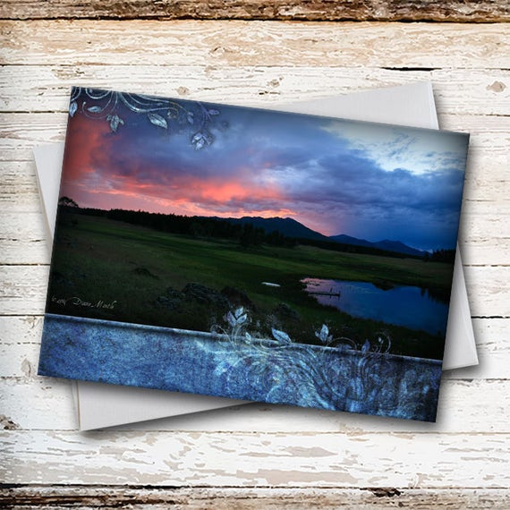 SCENIC NOTE CARD - Blank Note Card - Sunset at Locke's Pond