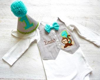 First Birthday Jungle Monkey Themed Tuxedo Bodysuit with  Removable Matching Bow Tie