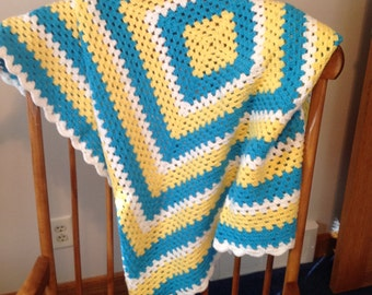 Turquoise & yellow Crib Blanket