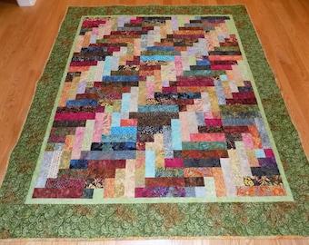 Batik Scrappy  handmade lap quilt large 75 x 64