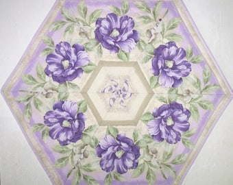 Floral Table Topper quilted, hexagon, snack mat, candle mat, handmade,  fabric from Timeless Treasures