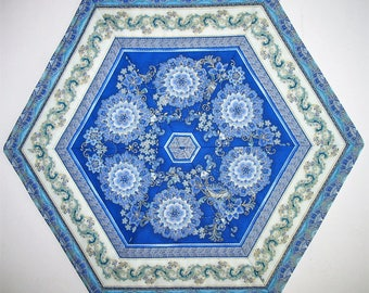 Floral Table Topper, Hexagon, blues, quilted, handmade, quilted table topper