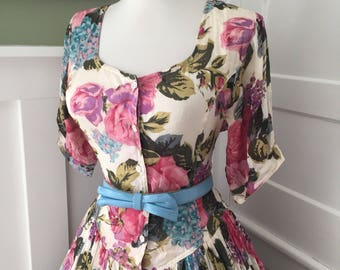 Vintage Sexy 1950s 1980s Pink Purple Green & Blue  Rose Floral Cotton Full Skirt Day Shirt Sun Dress