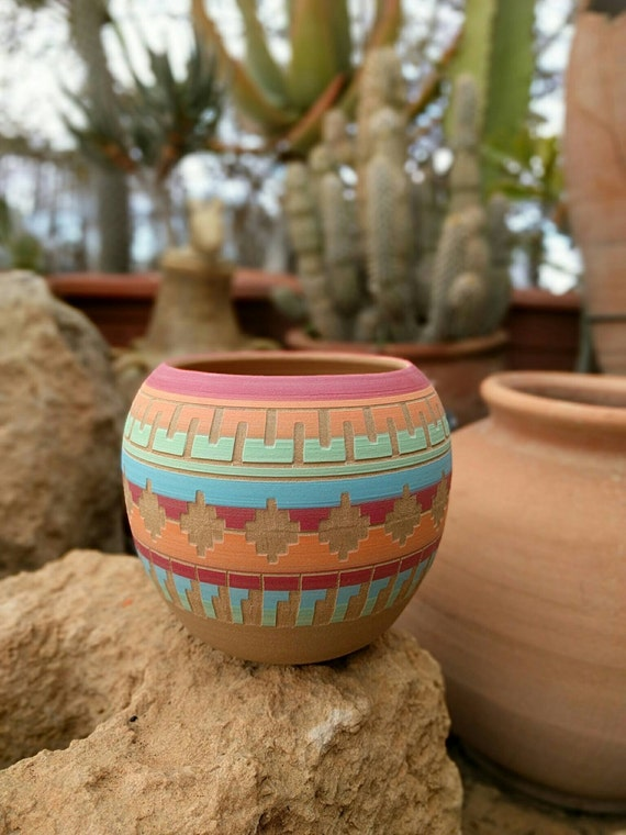 Bohemian Colorful Planter Ceramic Planter Succulent Planter