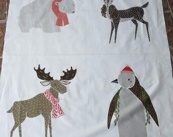 New In Stock! - Moda Merrily Panel Snow 48210 11 - Gingiber Seasonal Winter Winter Critter Panel Multi