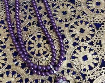 Clear crystal and purple beaded necklace double strand