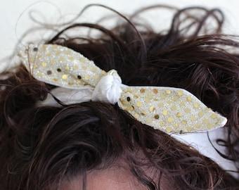 Headband Sparkle Gold Teen Women Hair Accessory Dance Prom Wedding New Years Eve Holiday Birthday Party Headscarf Hairband