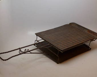 Antique Camp Cooker - Antique Camp Griddle - Vintage Camp Grill - Camping