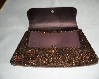 Vintage Brown Beaded Evening Clutch