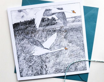 Not-so-mute Swans - Square Art Card - Detailed Pencil Drawing