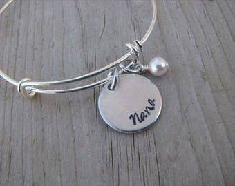 "RESERVED for Nicole- custom bracelet ""Mema"" Bracelet with an accent bead in your choice of colors- Hand-Stamped Jewelry"