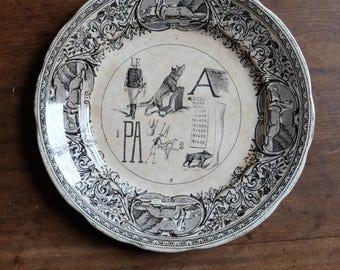 Antique French Rebus Dessert Plate/ Transferware/ c1845