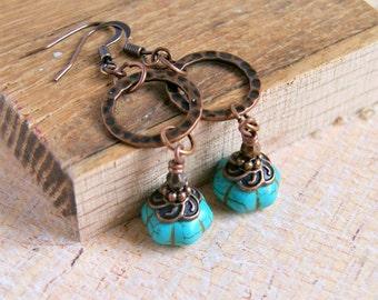 drop earrings, beaded earrings, dangle earrings, rustic jewelry, boho jewelry, copper jewelry, gift for her