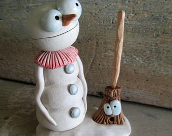 Christmas Snowman with Broom character CUTE by Janell Berryman Pumpkinseeds art