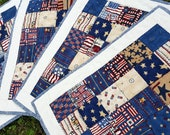 Quilted July Fourth Holiday Patchwork Place Mats, Perfect Americana Table Accent Red, White, Blue, Tan and Cream