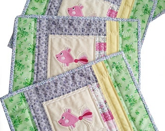 Quilted Easter Patchwork Place Mats, Snack Mats or Table toppers, Handmade, Perfect Easter Table Accent