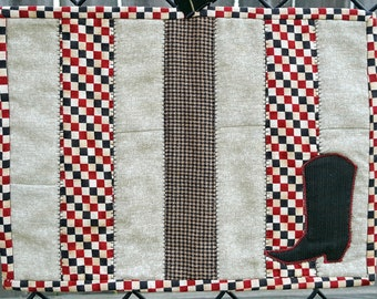 Cowboy Boot Themed Quilted Patchwork Snack Mats or Candle Mats, Set of Four, Red, Black and Cream Checker Board Print with Applique Boot