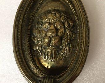 Vintage Brass Oval Lionhead Doorknocker