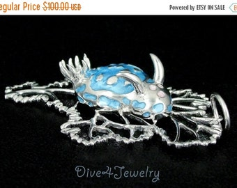 SALE Sterling Silver Sea Slug on Sea fan Big Pendant Necklace