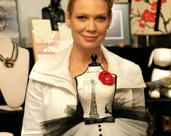 Walking Dead's Laurie Holden poses with Atutudes Tiny Tuxedo Tutu - Created for the 2012 Oscars Academy Awards Celebrity Gift Lounge
